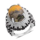 Bumble Bee Jasper, Thai Black Spinel, Diamond Accent Platinum Over Sterling Silver Ring (Size 6.5) , TGW 17.01 cts.