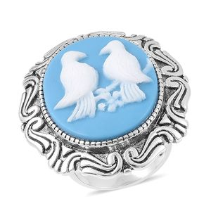 Cameo Stainless Steel Love Birds Ring (Size 6.0)