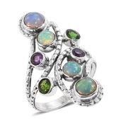 Artisan Crafted Ethiopian Welo Opal, Russian Diopside, Amethyst Sterling Silver Elongated Ring (Size 9.0) TGW 5.99 cts.