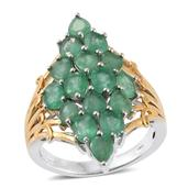 Kagem Zambian Emerald 14K YG and Platinum Over Sterling Silver Elongated Ring (Size 6.0) TGW 5.15 cts.