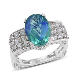Peacock Quartz, Cambodian Zircon Platinum Over Sterling Silver Ring (Size 8.0) TGW 8.440 cts.