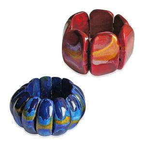 Blue and Red Wooden Abstract Set of 2 Bracelets (Stretchable)