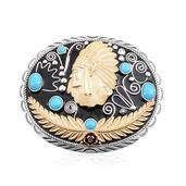 Arizona Sleeping Beauty Turquoise, Enameled 14K YRG Over and Sterling Silver Chief Belt Buckle TGW 1.85 cts.