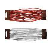 Red and White Glass Beads Set of 2 Bracelets with Wooden Lock (Stretchable)