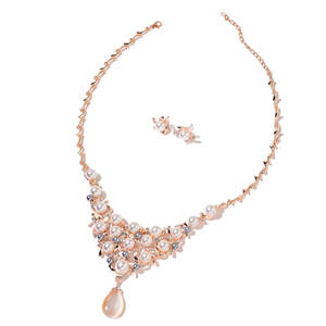 One to Own Simulated Cats Eye, Simulated White and Silver Pearl, Austrian Crystal Rosetone Earrings and Necklace (20-23 in) TGW 2.50 cts.