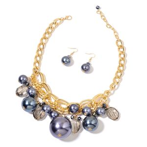Simulated Gray Pearl, Black Glass Goldtone Earrings and Bib Necklace (18 in) TGW 116.00 cts.