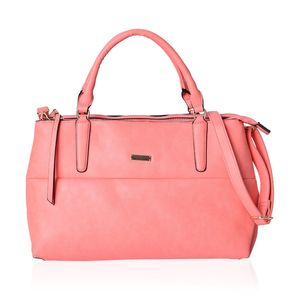 Coral Faux Leather Tote Bag with Removable Shoulder Strap (14x5.4x9 in)
