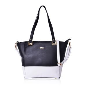 Black and White Faux Leather Tote with Standing Studs and Removable Strap (11x5.5x11 In)