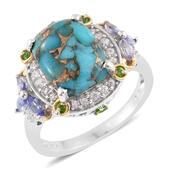 Mojave Blue Turquoise, Multi Gemstone 14K YG and Platinum Over Sterling Silver Ring (Size 10.0) TGW 7.32 cts.
