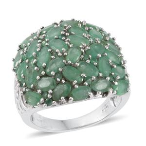 Kagem Zambian Emerald Platinum Over Sterling Silver Cluster Ring (Size 10.0) TGW 7.15 cts.