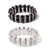 Set of 2 Black and White Glass, White Austrian Crystal Bracelets (Stretchable)