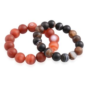 Set of 2 Red and Brown Agate Beads Bracelets (Stretchable) TGW 533.00 cts.