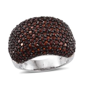 Mozambique Garnet Platinum Over Sterling Silver Dome Ring (Size 5.0) TGW 8.15 cts.