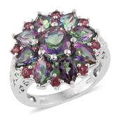 Karen's Fabulous Finds Northern Lights Mystic Topaz, Orissa Rhodolite Garnet Platinum Over Sterling Silver Ring (Size 6.0) TGW 9.61 cts.