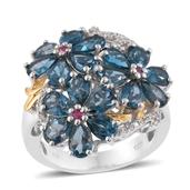 London Blue Topaz, Thai Ruby, Cambodian Zircon 14K YG and Platinum Over Sterling Silver Floral Ring (Size 9.0) TGW 8.95 cts.