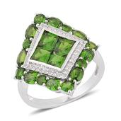Russian Diopside, White Zircon Sterling Silver Ring (Size 6.0) TGW 4.13 cts.