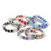 Set of 7 Simulated Pearl, Multi Color Glass, Chroma Bracelets (Stretchable)