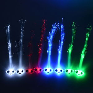 Set of 8 Multi Color Fiber Optic LED Clip-On Hairpins