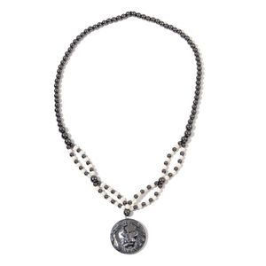 Hematite, White Shell Pearl Silvertone Lion Pendant on Beaded Necklace (28 in) TGW 797.00 cts.