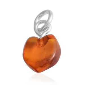 Baltic Amber Sterling Silver Heart Pendant without Chain