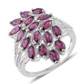 Purple Garnet, Diamond Accent Platinum Over Sterling Silver Ring (Size 7.0) TGW 3.36 cts.