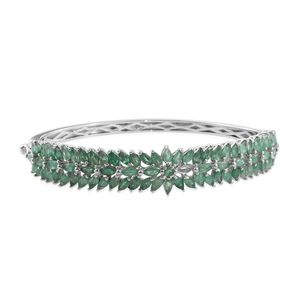 Kagem Zambian Emerald Platinum Over Sterling Silver Bangle (7.25 in) TGW 10.01 cts.