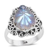 Artisan Crafted Sri Lankan Rainbow Moonstone Sterling Silver Carved Ring (Size 10.0) TGW 8.56 cts.