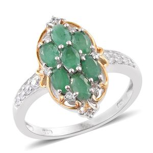 Kagem Zambian Emerald, Cambodian Zircon 14K YG and Platinum Over Sterling Silver Ring (Size 7.0) TGW 1.89 cts.