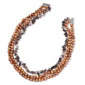 Freshwater Brown Pearl, Brazilian Smoky Quartz Chips Silvertone Necklace (18 in) TGW 428.50 cts.