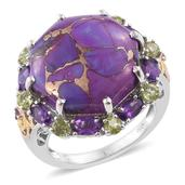 Mojave Purple Turquoise, Amethyst, Hebei Peridot 14K YG and Platinum Over Sterling Silver Ring (Size 7.0) TGW 22.91 cts.
