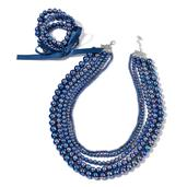 Simulated Peacock Pearl Silvertone Set of 5 Bracelets (Stretchable) and Multi Strand Drape Necklace (20.00 In)
