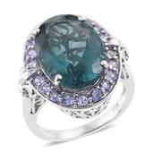 Karen's Fabulous Finds Blue Fluorite, Tanzanite Platinum Over Sterling Silver Ring (Size 6.0) TGW 17.25 cts.