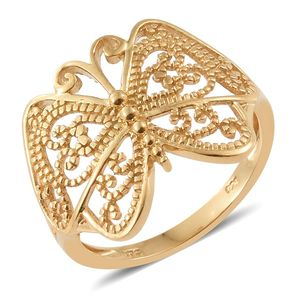 14K YG Over Sterling Silver Butterfly Ring (Size 7.0) (3.7 g)