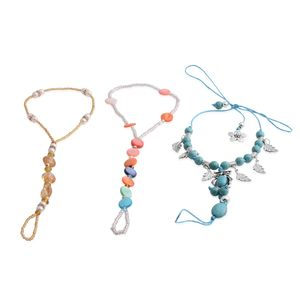 Blue Howlite, Multi Gemstone Antique Dualtone Set of 3 Barefoot Anklets and Toe Ring (Stretchable) TGW 50.00 cts.
