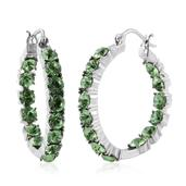 Stainless Steel Inside Out Hoop Earrings Made with SWAROVSKI Peridot Crystal TGW 8.35 cts.