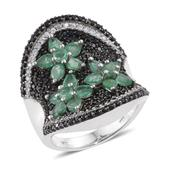 Kagem Zambian Emerald, Thai Black Spinel, Cambodian Zircon Platinum Over Sterling Silver Elongated Floral Concave Ring (Size 9.0) TGW 5.18 cts.