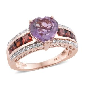 Rose De France Amethyst, Mozambique Garnet, Cambodian Zircon 14K RG Over Sterling Silver Heart Ring (Size 7.0) TGW 4.82 cts.