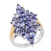 Tanzanite 14K YG and Platinum Over Sterling Silver Ring (Size 6.0) TGW 5.64 cts.