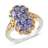 Tanzanite 14K YG and Platinum Over Sterling Silver Ring (Size 7.0) TGW 2.32 cts.