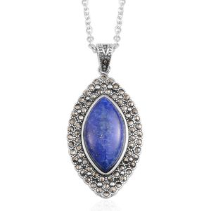 Lapis Lazuli, Swiss Marcasite Black Oxidized Stainless Steel Pendant With Chain (20 in) TGW 16.80 cts.