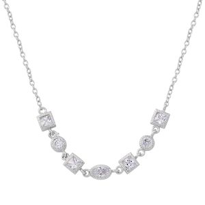 Simulated White Diamond Sterling Silver Necklace (18 in) TGW 1.40 cts.