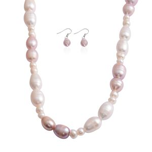 Freshwater Purple and White Pearl Stainless Steel Earrings and Necklace (18 in)