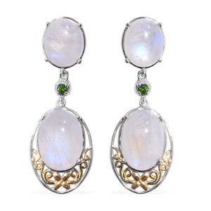 Sri Lankan Rainbow Moonstone, Russian Diopside 14K YG and Platinum Over Sterling Silver Earrings TGW 24.82 cts.