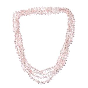 Galilea Rose Quartz Beads 14K RG Over Sterling Silver Endless Chip Necklace (100 in) TGW 270.00 cts.