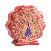 Peacock Shape Hand-painted Genuine Leather Money Bank (4.92x4.92x1.57 in)