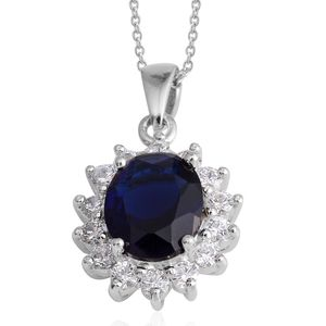 Simulated Blue and White Diamond Silvertone Pendant With Chain (18.00 In) TGW 5.74 cts.