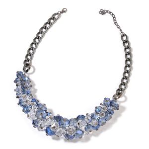 Blue Glass, Chroma Dark Silvertone Bib Necklace (20-25 in)