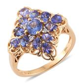 Tanzanite, Cambodian Zircon 14K YG Over Sterling Silver Ring (Size 6.0) TGW 2.25 cts.