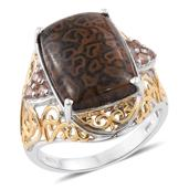 Dino Bone, Jenipapo Andalusite 14K YG and Platinum Over Sterling Silver Ring (Size 10.0) TGW 10.00 cts.