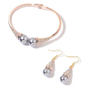 Simulated Gray Pearl, White Austrian Crystal Rosetone and Goldtone Bangle (8 in) and Earrings